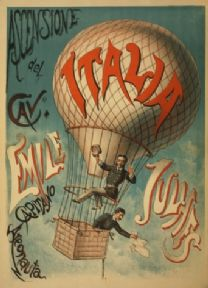 Vintage Advertising Poster 1890s Classic Italian Hot Air Balloon Ride.